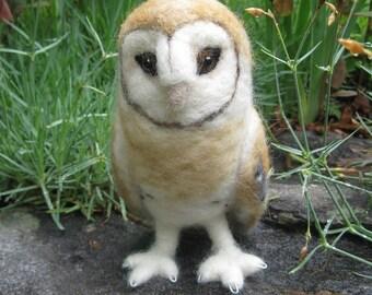 Mr. Barn Owl, needle felted bird sculpture