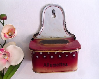 French enamel match box Allumettes box Enamelware match container Antique French enamel wall mounted match holder
