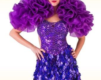 Organza Boa Shoulder Dress: Viola Boa - Boa Backpack, Organza Ruffle Boa, Burlesque Boa, Rüschenboa, Boa de Organza