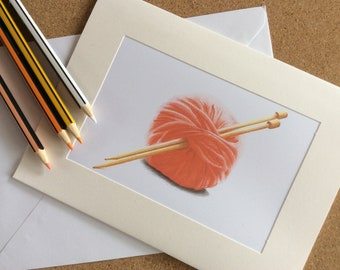 Knitting card wool and needles blank  wool greeting card original art pencil print hand signed knitters red wool card