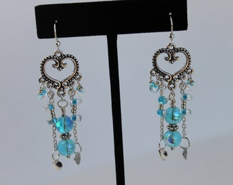 Chandelier Heart Earrings with Aqua Blue Glass Beads