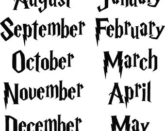 Teacher Classroom Months of the School Year Harry Potter Font and Lots of Color Choices, Great for Kids