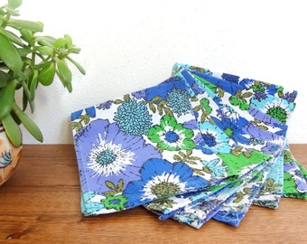 60's Vintage Floral Cloth/Fabric Napkins Set of 6 Blue & Green
