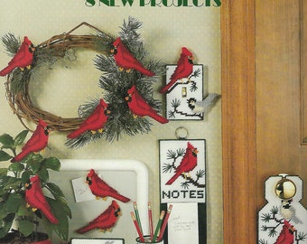 More Cardinals & Chickadees Plastic Canvas Pattern, Notepad Holder, Switch Plate Cover, Door Sign, Pencil Cup, Cardinals, Home Decor