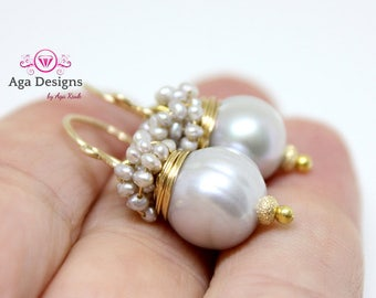 Freshwater Pearl earrings, earrings with big silver fresh water pearl and silver seed pearls