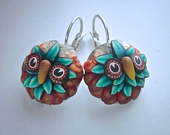 Woodland Earrings, Owl Earrings, Polymer Clay Earrings, Custom Jewelry, Handmade Earrings, Millefiori Earrings, Teal Earrings, Wearable Art