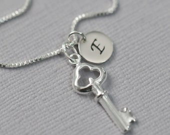 Personalized Sterling Silver Key Necklace, Custom Initial Key Necklace, Key Necklace, Heart Necklace, Valentines Gift, Gift for Her
