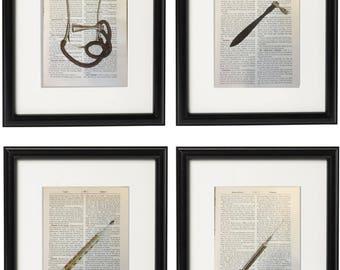 4 Vintage Doctor Prints Silver Medical Equipment Stethoscope Syringe Gift Health Dictionary Vintage Upcycled Book Art