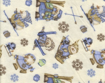 Snow Much Fun Snowmen on White Flannel Fabric 1 Yard