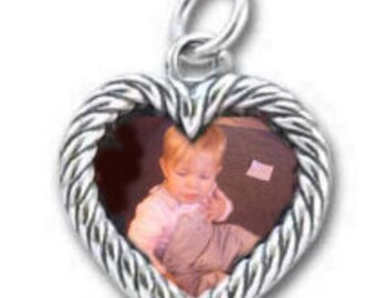 Sterling Silver heart shaped double sided photo frame pendant.