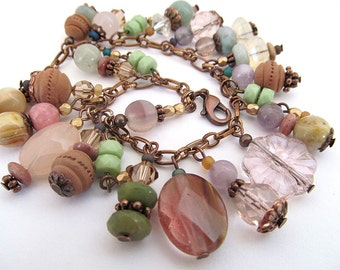 Earthy Gemstone Charm Bracelet, Pastel Desert Colors, Southwest Jewelry, Southwestern Charm Bracelet, Clay Beads, moonlilydesigns