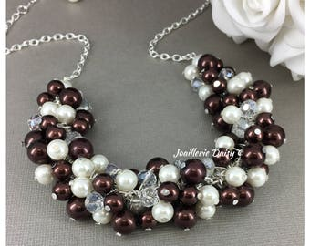 Chocolate Necklace Wedding Jewelry Bridesmaid Gift Cluster Necklace Brown Necklace Fall Wedding Bridesmaids Gift for Her