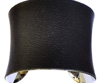 Dark Asphalt Grey Leather Cuff Bracelet - by UNEARTHED