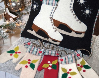 Winter Skating Pillow & Warm Woolen Mittens, Wool Applique Pattern