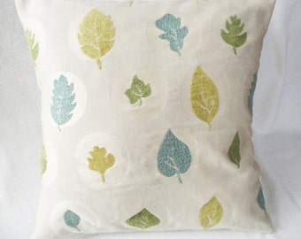 """Leaves Pillow cover beige, olive, green, teal, modern decor pillow, textured leaves, 16 inch, 14"""", 12x16"""" cushion slip, upholstery fabric"""