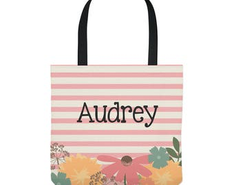 Personalized Tote Bag - Wildflowers on Pink Stripes - Three Sizes to Choose From - Great for library, dance, music lessons, and more!