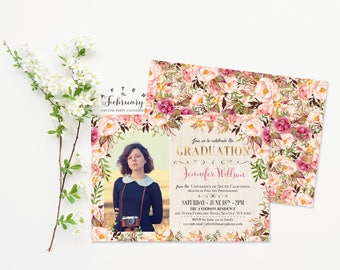 Graduation Invitation Grad Photo Invitation Watercolor Floral Boho Cottage Chic Backyard Summer Invitation Printable No.989GRADE