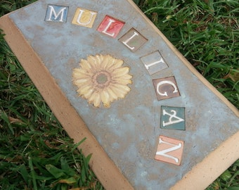 Custom - Pottery Pottery Garden Stone or Burial Grave Marker - Stoneware Clay - For Pet Memorial -  Beveled Rectangle Plaque - SUNFLOWER