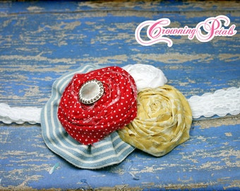 Red, Pale Yellow, Light Blue Hair Accessories, Headband, Hair Clip, Fabric Flower Headband, Fabric Flower Brooch, Baby Hair Bows, Hair Piece
