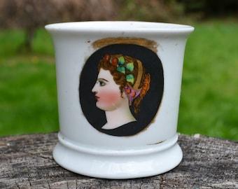 Small Antique Shaving Mug with Lady's Profile