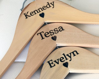 7 - Personalized Bridesmaid Hangers - Engraved Wood