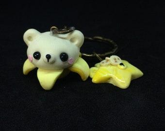 Kawaii bear banana cupcake keychain