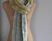 Bulky, Wrapping, Scarf, Handspun Yarn, Handknit Knit Scarf, Wool, Soft, Green, Blue, Yospun