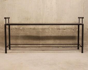 Metal Bench with Mesh Top and Rebar Frame Shelf