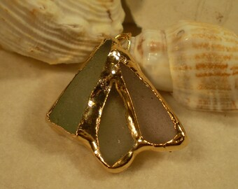 Pastel Genuine Sea Glass and Gold Pendant