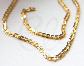 One Foot Premium Gold Plated Hand Linked Chain- Rectangle 4mm (YIPF4-08)