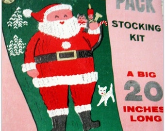 "Vintage Knit Christmas ""SANTA"" Stocking - PDF Pattern"