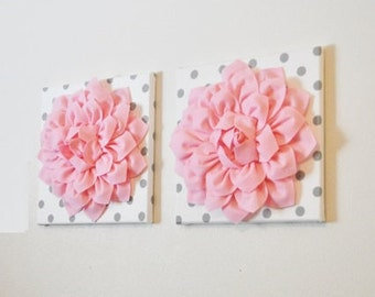 "Wall Flower -Light Pink Dahlia on White with Gray Polka Dot 12 x12"" Canvas Wall Art- Baby Nursery Wall Decor-Set of TWO"
