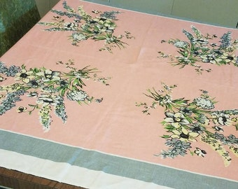 Pink, blue and yellow flower tablecloth 1950's 50' square