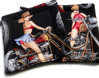 Handmade Quilted Pot holders Set of 2 Biker Girls Pinups Black or Red