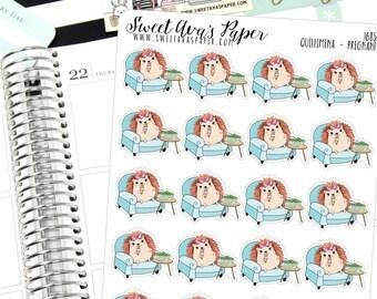 Pregnant Planner Stickers - Hedgehog Planner Stickers - Ice Cream Planner Stickers - Food Baby Stickers - Pickle Planner Stickers - 1685