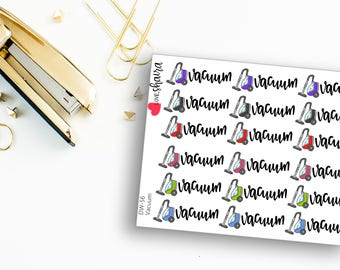 Vacuum | Cleaning Stickers, Household Chores, Vacuuming, Mom Life, Cleaning Zones, Adulting - Hand Drawn and Hand Lettered Planner Stickers