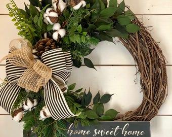 Year Round Wreath, Front Door Wreath, Door Wreath, Greenery Wreath, Cotton  Wreath