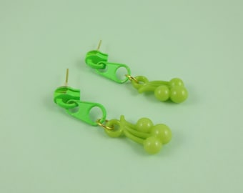 Green Zip Earrings, Green Cherry Earrings - green zip studs, upcycled zippers, Harajuku Decora, 1980s 80s retro, kitsch kawaii cute, novelty