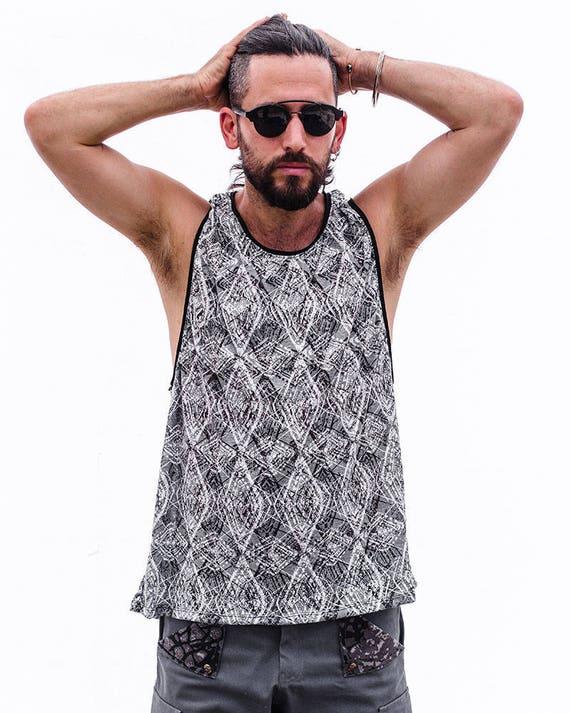 Man's Sleeveless Tank Top, Men's Party Grey Printed Shirt, Men's Summer Fashion, Burning Man Festival Wear, Bohemian man's wear, Men's Tank