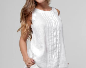 Linen Tank by Claudio Milano Style-8040