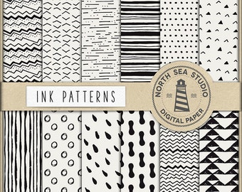 Ink Digital Paper, Black Ink Papers, Hand Painted Patterns, Brush Marks Digital Backgrounds, Digital Download, Don't Forget Use Coupon Code!