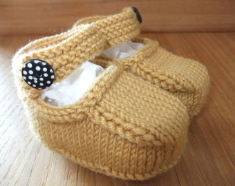 Hand knitted Mary-Jane baby shoes in mustard cashmerino wool   - 0-3, 3-6 and 6-9 months