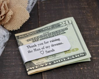 Father of the Groom Gift Father of the groom Money Clip Present Thank you for raising the man of my dreams money clip with name or date