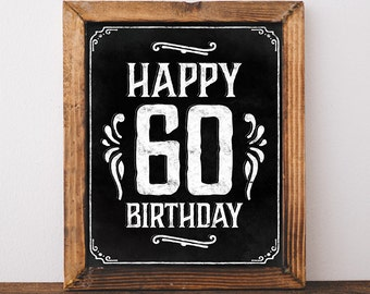 happy birthday sign printable party decor happy 60th