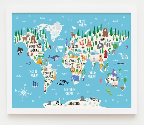 Animal World Map Print Kids World Map Poster Nursery World - World map for playroom