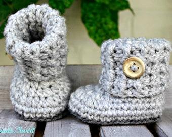 Baby booties, crochet booties, baby socks, baby shoes, grey baby booties, baby socks, baby shower gift