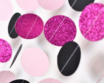 Pink and Black, 10ft, Paper Garland, Birthday Party Decor, Wedding Decor, Shower Decor, Nursery