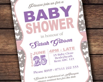 Pink and purple baby shower invite fully personalised x 20!