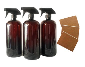 32oz Plastic Bottles Amber PET Round Bottles w/ Black Trigger Spray Available in 1, 3 + Kraft Labels