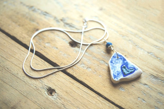 Beach Tile Enamelled Heart Pendant - Blue Heart - sterling silver wire and chain. Reuse, Upcycle, Relove.